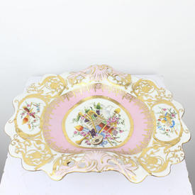 30Cm Pink, White & Gilt Porcelain Decorative Footed Dish