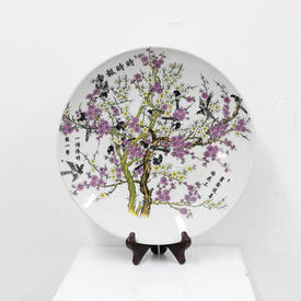 34 Cm China Plate, Painted Starlings in Cherry Blossom Tree