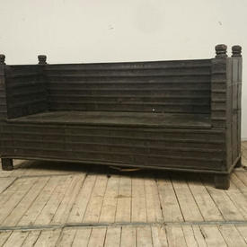 "6'5"" x  2'4"" Oak & Metal Box Style Bench with Lift Up Seat"