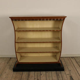 """3'6"""" Maple Art Deco Shaped Freestanding Open Bookcase with Black Base"""
