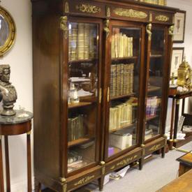 """6'6"""" Mahogany French Empire Bookcase, 3 Glazed Doors And Ormolu Mounts"""