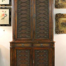 "3'8"" Mahogany 2 Part Bookcase, Leather inset Panels, Metal Décor"