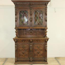 8' Polished Oak Carved 2-Part Bookcase with Carved Glazed Lead Light Doors  (C)