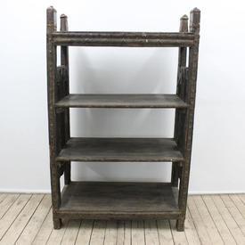 "4'11"" Rustic Oak & Metal 4-Tier Open Bookshelf"