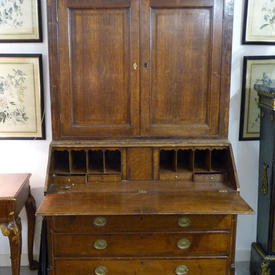 4' x  7' Oak 2 Part Writing Bureau with A Bookcase Top