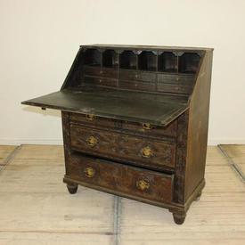 "3'4"" Carved Oak Writing Bureau"