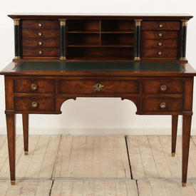 "3'7"" Fruitwood French Empire Style Writing Table with Raised Back on Black Supports, Drawers"