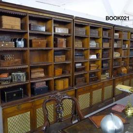 "8'  x  5'4"" Polished Oak Open 2 Part Victorian Bookcase with Lattice Pattern Doors"