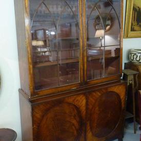 """7'6"""" x  4'8"""" Mahogany Georgian Glazed 2 Part Bookcase"""