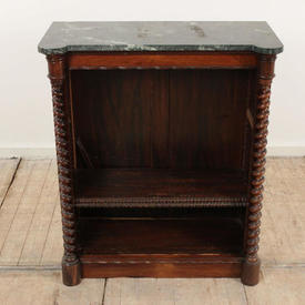 """2'9"""" Rosewood William Iv Barley Twist Open Bookcase, Green Marble Top"""