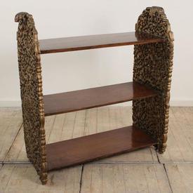 3' Gilt & Mahogany Moorish 3 Tier Bookshelf