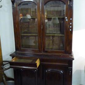 4' Mahogany Victorian 2 Part, 2 Door, Glazed Top Bookcase