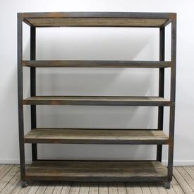 "5'5"" Wood & Steel industrial Shelving Unit"