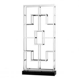 """7'11"""" Polished Steel Deco Style Open Shelving Unit with Smoked Glass Shelves & Black Block Base"""