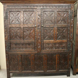 "5'6""  x  6'5"" Carved Oak 2 Door Wardrobe"