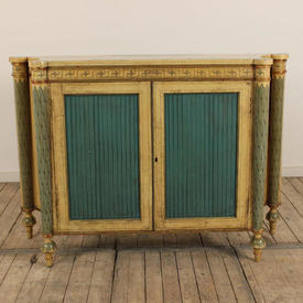 """4'4""""Cream And Green Urn Design Painted Cabinet with Column Legs"""