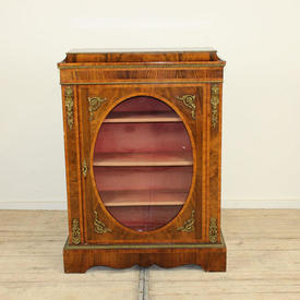 3'9  x 2'8 Walnut Single Oval  Front Glass Door Cabinet with Ormolu Mounts