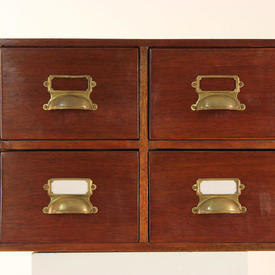 "20"" x 16"" x 14"" Mahogany 4-Drawer index Cabinet with Brass Cup Handles"