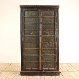 "5'11""  x  3'4"" Hardwood & Gilt 2-Door Cupboard"