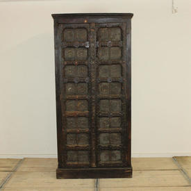 "6'5"" x  3' Hardwood & Brass Carved Panelled 2 Door Cabinet"