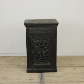 "2'8""  x  1'8"" Dk Teak 1-Drawer Pot Cupboard with Carved Fretted Door Panel"