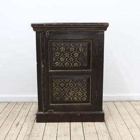 "22""  x  13"" Painted Single Door Cabinet  with Gold Moorish Design"