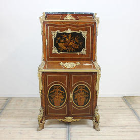 "5'2""  x  2'8"" Mah & Marquetry inlaid, 3-Door Cabinet, Gilt Bronze Female Figure Decor"
