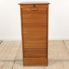 "3'7""  x  1'7"" Polished Light Oak Tambour Front Cabinet with Pull Out Trays, Key included"