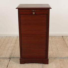 "3'  x  1'8"" Polished Mahogany Tambour Front Cabinet with Pull Out Trays, Key included"