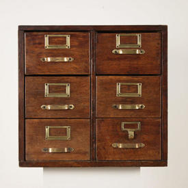 "1'8""  x  1'8"" Polished Oak 6-Drawer index Cabinet with Brass Pill Handles"