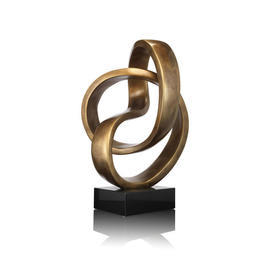 Gold ''Eternity'' Sculpture on Black Base