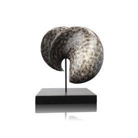 Brown & Cream Mottled Shell Sculpture on Base