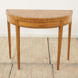 3' Satinwood Folding Card Table with Fan inlaid Top & Square Tapering Legs