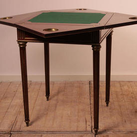 Mahogany & Brass Square Cut Triangle Top Empire Style Card Table with 1 Drawer