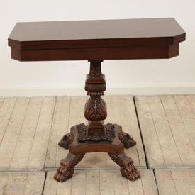 Mahogany Folding Tea Table with Pedestal Base