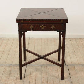 Mahogany Square 4 Fold Top ADams Style Card Table with Drawer