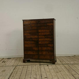 """3'8"""" High Walnut 24 Drawer Collectors Cabinet"""