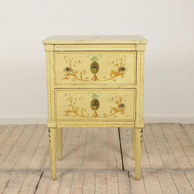 """2'  x  16"""" Yellow Painted 2 Drawer Bedside Cabinet"""