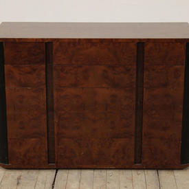 Walnut And Black Art Deco 5 Drawer Chest Of Drawers
