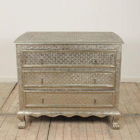 """3'4"""" Silver Embossed 3 Drawer Chest Of Drawers on Paw Feet (C)"""