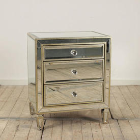 Mirrored & Silver Leaf 3-Drawer Bedside Chest Of Drawers