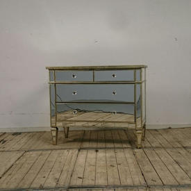 Mirrored Chest Of 4-Drawers with Silver Leaf Edge & Glass Bauble Handles