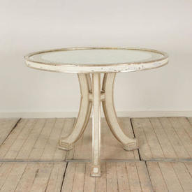 """3'4"""" Circ White Painted Silver Leaf Decor Centre Table with Eglomise Top"""