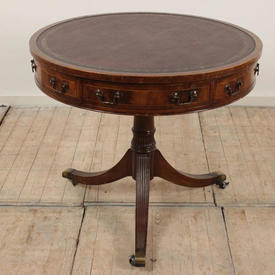 """2'8"""" Mahogany Victorian Pedestal Drum Table with Leather Top"""