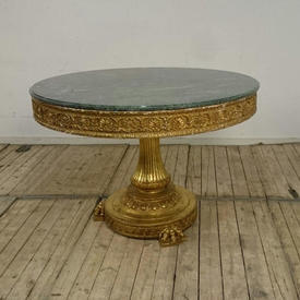 4' Carved Gilt Circular Centre Table with Pedestal Base with Green Marble Top