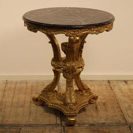 3' Circular Carved Gilt Centre Table with Red Marbelised Top
