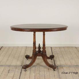 3' Oval Walnut Loo Table