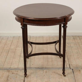 Mahogany 2' Circular Edwardian Centre Table on Reeded Legs & Sweeping Stretcher