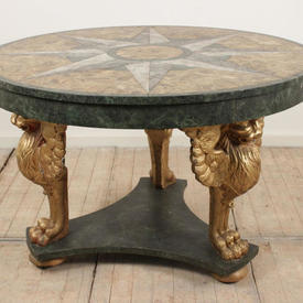 """3'9"""" Green Marbleized Centre Table with Griffin Legs"""