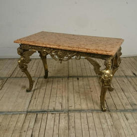 4'8  x  2'6 Heavy Brass French Empire Style Centre Table with Red Marble Top